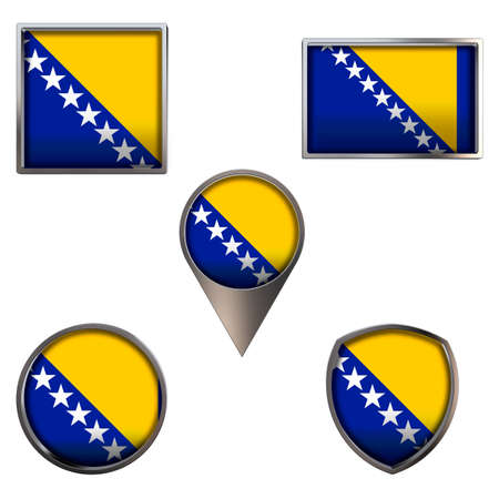 Various flags of Bosnia and Herzegovina. Realistic national flag in point circle square rectangle and shield metallic icon set. Patriotic 3d rendering symbols isolated on white background.