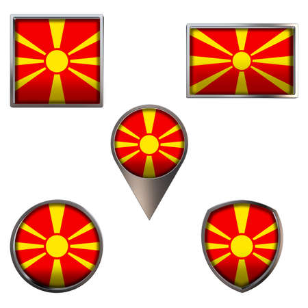 Various flags of Republic of North Macedonia. Realistic national flag in point circle square rectangle and shield metallic icon set. Patriotic 3d rendering symbols isolated on white background.