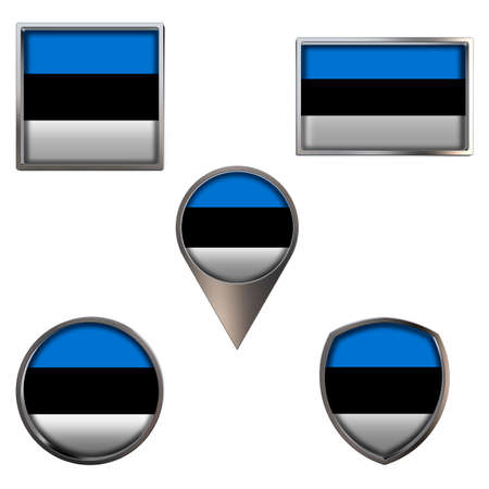 Various flags of the Republic of Estonia. Realistic national flag in point circle square rectangle and shield metallic icon set. Patriotic 3d rendering symbols isolated on white background. Foto de archivo