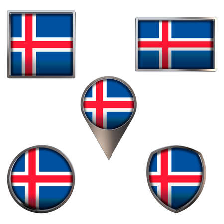 Various flags of Iceland. Realistic national flag in point circle square rectangle and shield metallic icon set. Patriotic 3d rendering symbols isolated on white background.