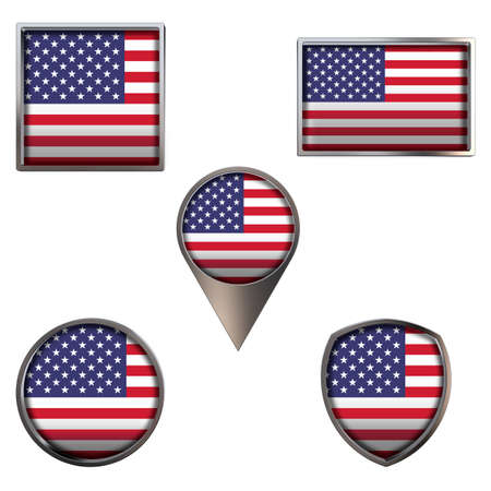 Various flags of the United States of America. Realistic national flag in point circle square rectangle and shield metallic icon set. Patriotic 3d rendering symbols isolated on white background.