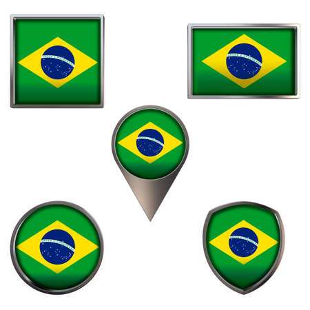 Various flags of Federative Republic of Brazil. Realistic national flag in point circle square rectangle and shield metallic icon set. Patriotic 3d rendering symbols isolated on white background.