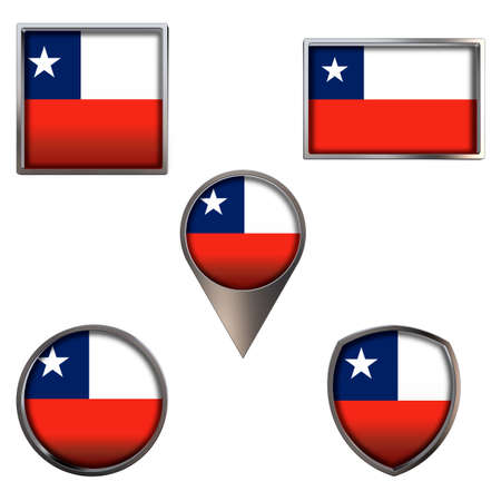 Various flags of the Republic of Chile. Realistic national flag in point circle square rectangle and shield metallic icon set. Patriotic 3d rendering symbols isolated on white background.