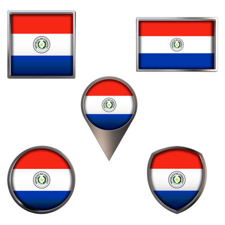 Various flags of the Republic of Paraguay. Realistic national flag in point circle square rectangle and shield metallic icon set. Patriotic 3d rendering symbols isolated on white background.