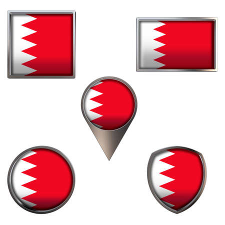 Various flags of the Kingdom of Bahrain. Realistic national flag in point circle square rectangle and shield metallic icon set. Patriotic 3d rendering symbols isolated on white background.