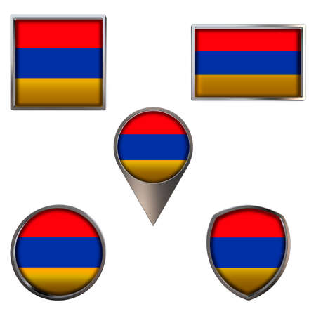 Various flags of the Republic of Armenia. Realistic national flag in point circle square rectangle and shield metallic icon set. Patriotic 3d rendering symbols isolated on white background.