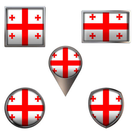 Various flags of the Georgia. Realistic national flag in point circle square rectangle and shield metallic icon set. Patriotic 3d rendering symbols isolated on white background.