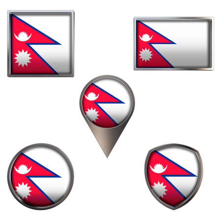 Various flags of the Federal Democratic Republic of Nepal. Realistic national flag in point circle square rectangle and shield metallic icon set. Patriotic 3d rendering symbols isolated on white backg