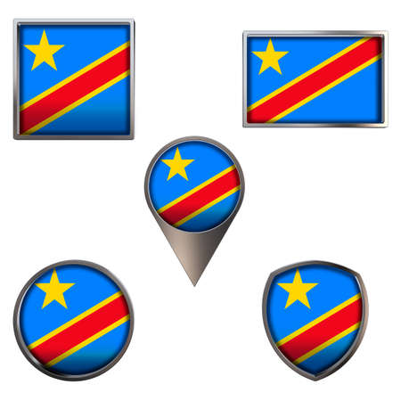Various flags of the Democratic Republic of the Congo. Realistic national flag in point circle square rectangle and shield metallic icon set. Patriotic 3d rendering symbols isolated on white backgroun