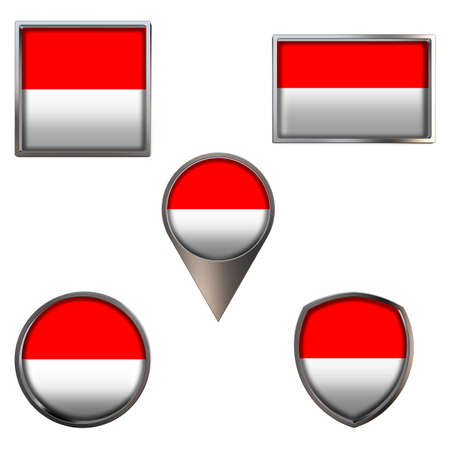 Various flags of the Republic of Indonesia. Realistic national flag in point circle square rectangle and shield metallic icon set. Patriotic 3d rendering symbols isolated on white background.
