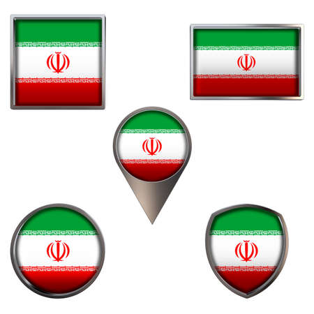 Various flags of the Islamic Republic of Iran. Realistic national flag in point circle square rectangle and shield metallic icon set. Patriotic 3d rendering symbols isolated on white background.