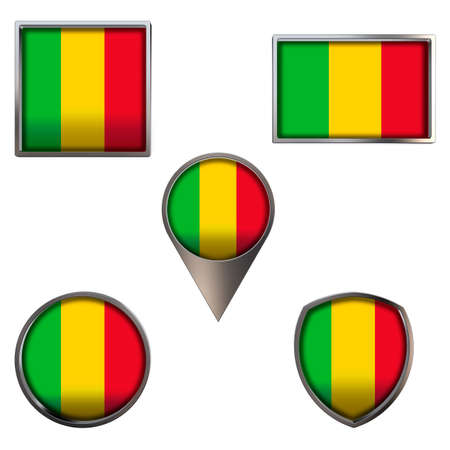 Various flags of the Republic of Mali. Realistic national flag in point circle square rectangle and shield metallic icon set. Patriotic 3d rendering symbols isolated on white background.