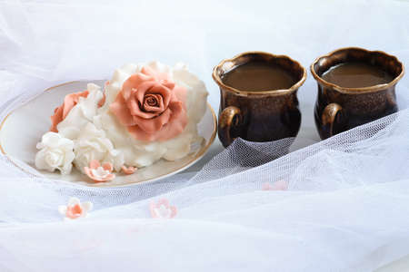 sugar veil: Sugar rose with coffee on veil Stock Photo