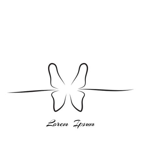 skinny: logo butterfly simple contour lines of hand-drawing Illustration