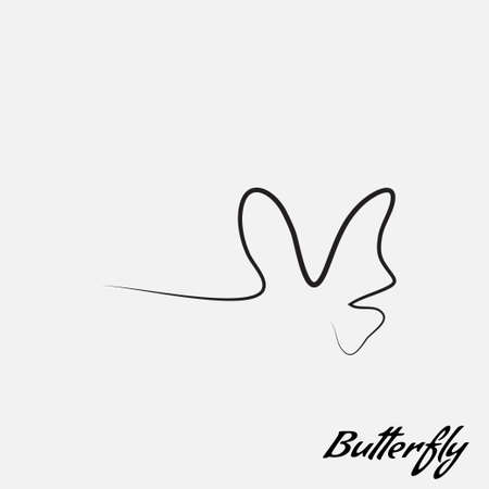 simple logo: simple logo butterfly contour lines of hand-drawing