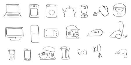 hand drawing contour  vector icons household appliances