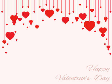 background of hearts on the filaments Valentines Day Ilustrace