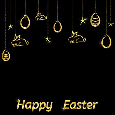gold egg: Easter background contour drawing egg and rabbit gold on black Illustration