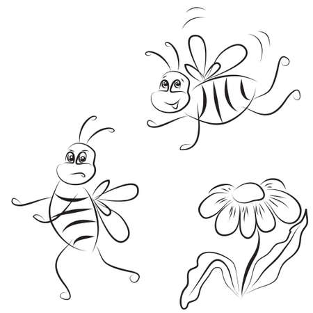 comic wasp: simple outline drawing bee and daisy on a white background