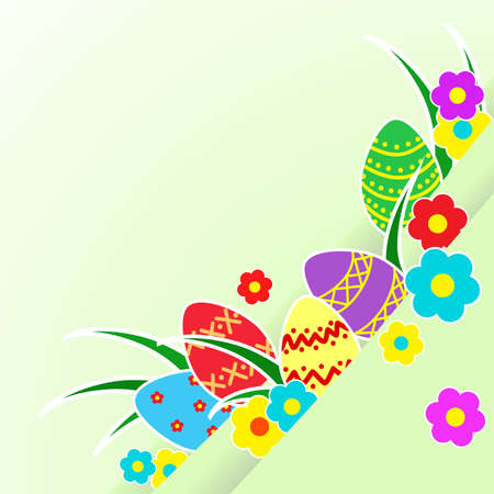 primitive: primitive painted colorful Easter eggs with flowers and grass.