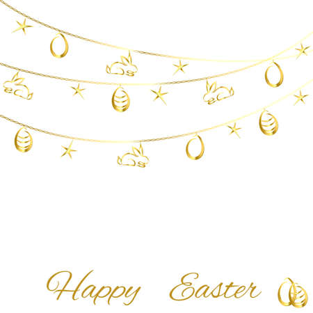 golden eggs: Easter background with golden eggs on a thread on a white background