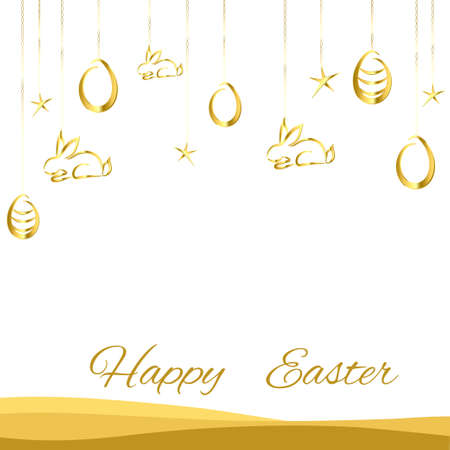 golden eggs: Easter background with golden eggs hanging on a white background Illustration