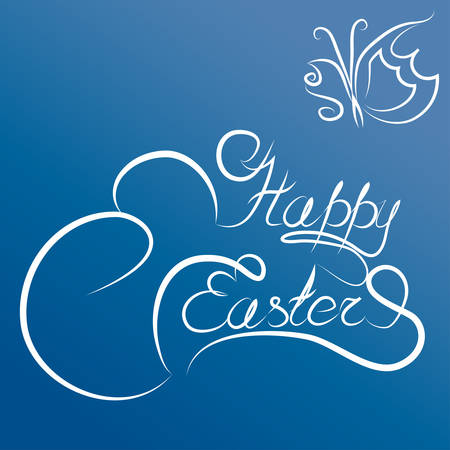 curlicues: Happy Easter handwriting decorative beautiful text with curlicues and butterfly