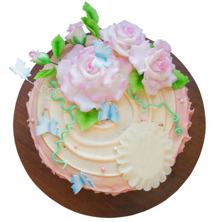 pink  leaf: beautiful cake with sugar roses and butterflies isolated on a white background