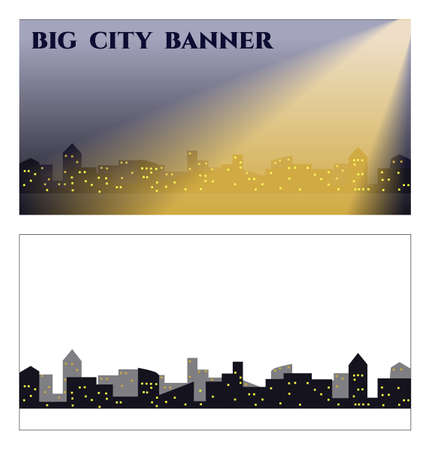 lighted: banner with dark silhouettes of city buildings with lighted windows in the rays of light