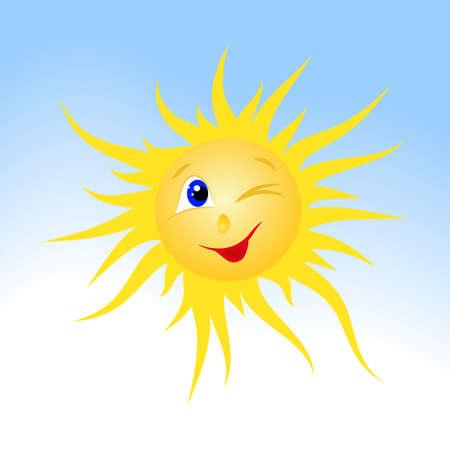 smiling sun: drawn smiling sun on blue sky background Illustration