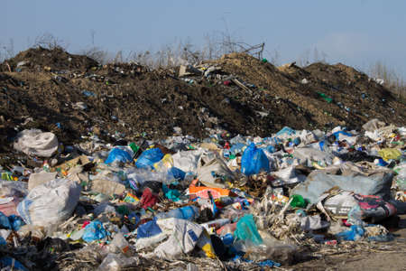 landfill site: Dump heap of garbage and waste. Environmental pollution. Ecology