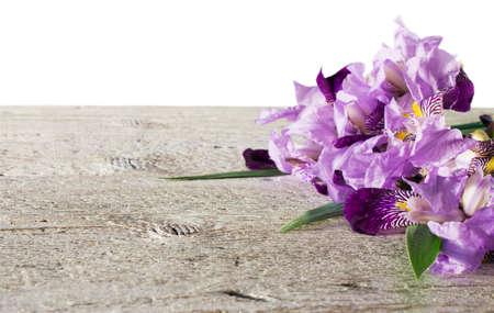 purple irises: bouquet of purple irises with a light wooden background isolation on white Stock Photo