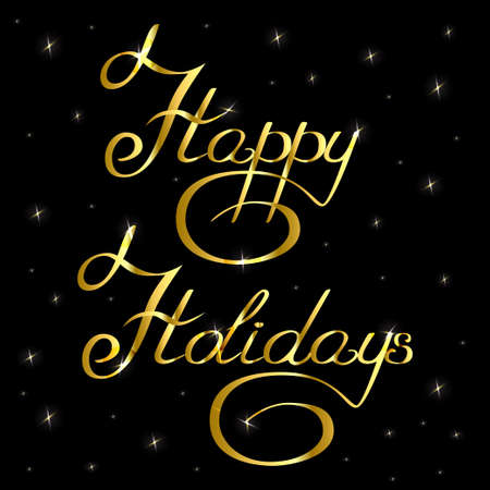curlicues: handwritten text inscription happy holidays gold with stars