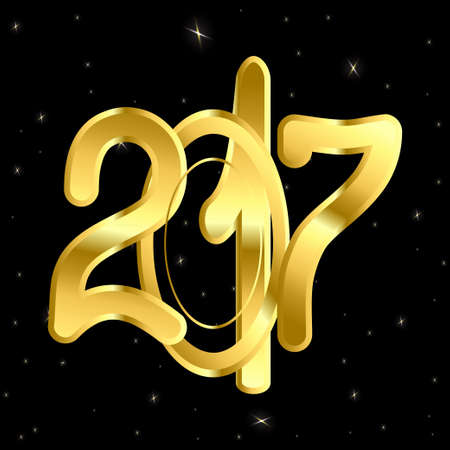 gold numbers: inscription of gold numbers 2017 on a black background with glitter
