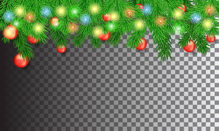 Christmas tree branches with colorful luminous garlands and red Christmas balls on a transparent background