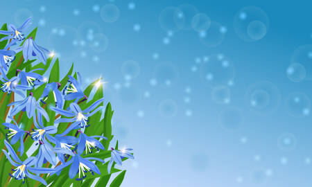 blue card with spring flowers with bokeh and shining Illustration