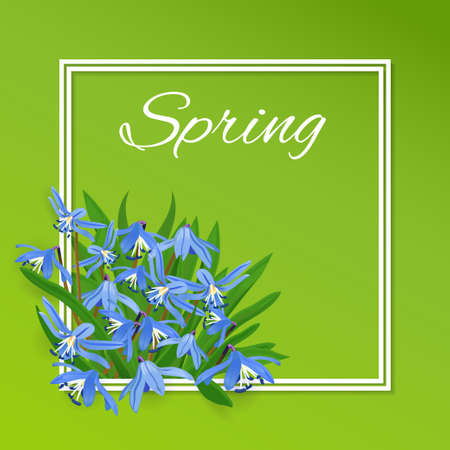 frame with spring flowers. Green card with blue snowdrops Illustration