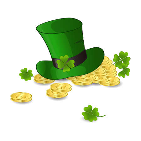 letters St. Patricks Day. Leprechauns hat and gold coins with green clover leaves