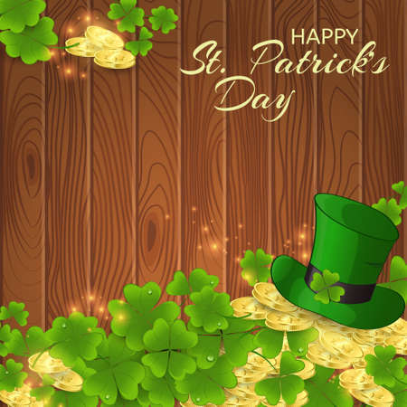Card of St. Patricks Day with gold coins, clover leaves and a leprechaun hat on a wooden background.