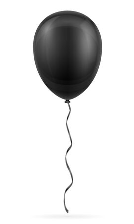 celebratory black balloon pumped helium with ribbon stock vector illustration isolated on white background
