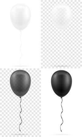celebratory transparent black and white balloons pumped helium with ribbon stock vector illustration isolated on white background