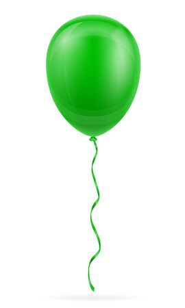 celebratory green balloon pumped helium with ribbon stock vector illustration isolated on white background