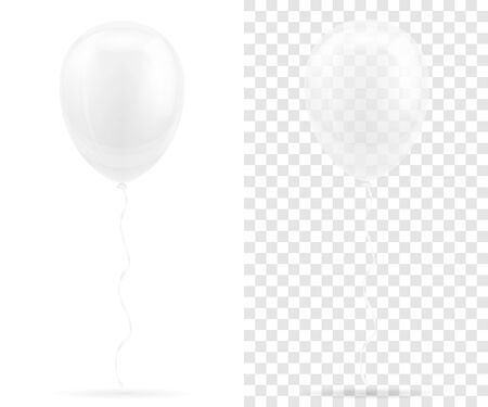 celebratory transparent white balloons pumped helium with ribbon stock vector illustration isolated on background