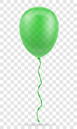 celebratory green transparent balloon pumped helium with ribbon stock vector illustration isolated on white background