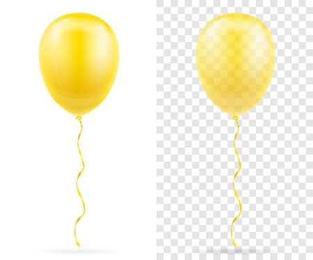 celebratory yellow transparent balloons pumped helium with ribbon stock vector illustration isolated on white background