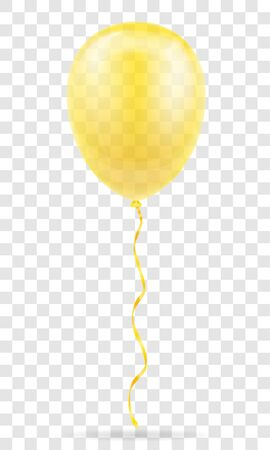 celebratory yellow transparent balloon pumped helium with ribbon stock vector illustration isolated on white background