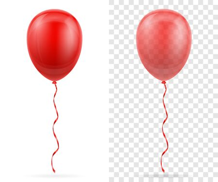 celebratory transparent red balloons pumped helium with ribbon stock vector illustration isolated on white background
