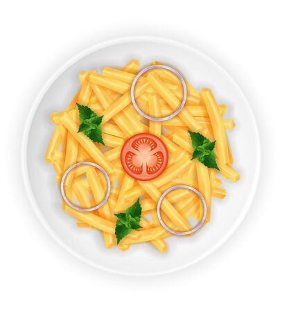 fried roast potatoes on a plate with vegetables stock vector illustration isolated on white background Archivio Fotografico - 126505784