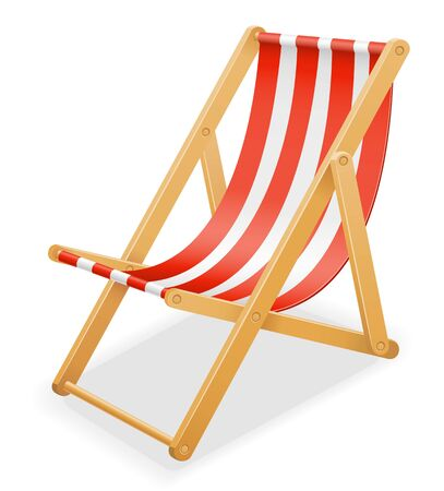 beach deck chair made of wood and fabric stock vector illustration isolated on white background Stock fotó