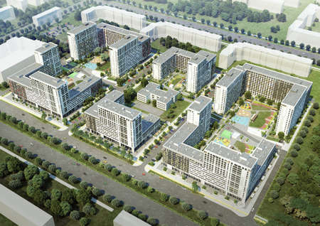 New building  Residential complex  Planting of greenery  3D render Stock Photo